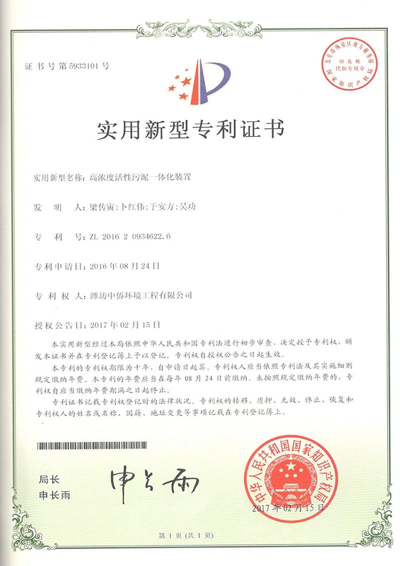 活性污泥一体化专利证书